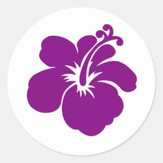 flor púrpura del hibisco pegatina redonda