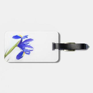Flor púrpura del iris etiqueta de maleta