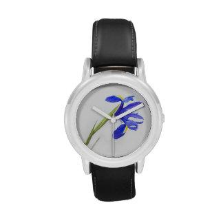 Flor púrpura del iris relojes de mano