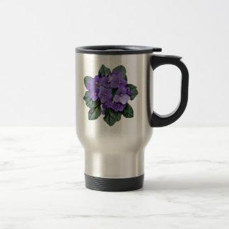 Flor púrpura del jardín de la violeta africana taza de viaje de acero inoxidable