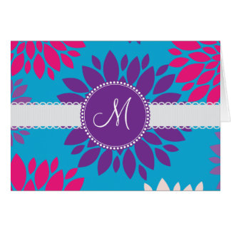 Flor púrpura del monograma del rosa de encargo de tarjeta pequeña