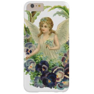 Flor púrpura del pensamiento del ángel del funda de iPhone 6 plus barely there