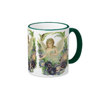 Flor púrpura del pensamiento del ángel del tazas