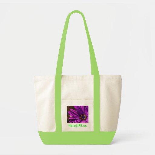 flor púrpura del tote del fibroLIFE y fibroLIFE.us Bolsa Tela Impulso