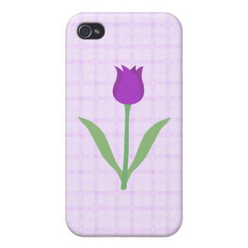 Flor púrpura del tulipán iPhone 4 fundas