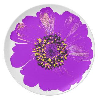Flor púrpura del Zinnia Plato Para Fiesta