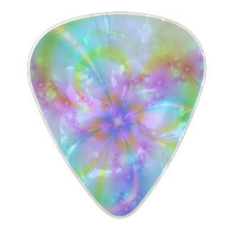 Flor púrpura en azul púa de guitarra celuloide nacarado
