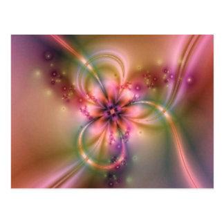 Flor púrpura en el oro tarjeta postal