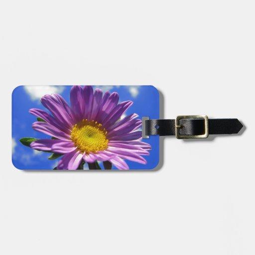 Flor púrpura etiqueta para equipaje