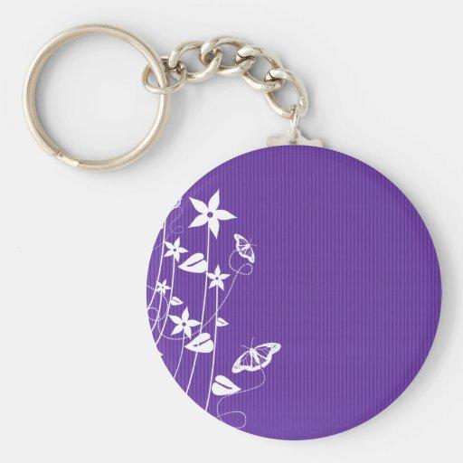 Flor púrpura femenina llavero personalizado