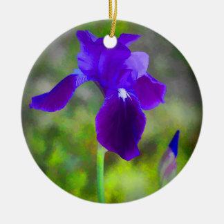 Flor púrpura germánico Digital del iris pintada Adorno Navideño Redondo De Cerámica