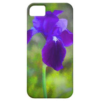 Flor púrpura germánico Digital del iris pintada iPhone 5 Carcasa