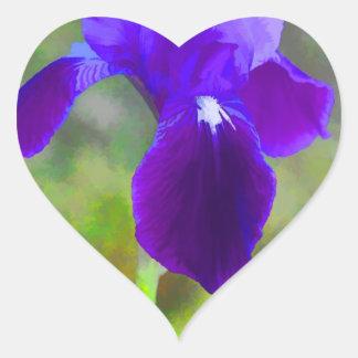 Flor púrpura germánico Digital del iris pintada Pegatina En Forma De Corazón
