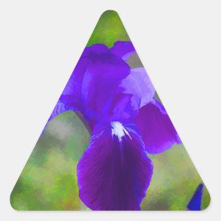 Flor púrpura germánico Digital del iris pintada Pegatina Triangular