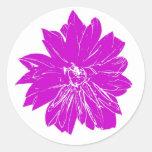 Flor púrpura grande pegatina redonda