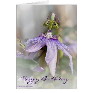 Flor púrpura pálida hermosa de la pasión del © P Tarjeta De Felicitación