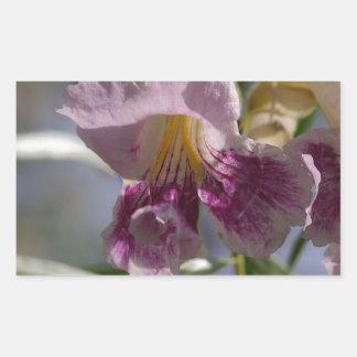Flor púrpura pegatina rectangular