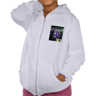 Flor púrpura sudadera con capucha