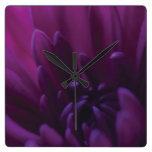 Flor púrpura reloj de pared