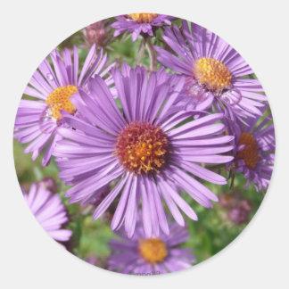 Flor púrpura salvaje pegatina redonda