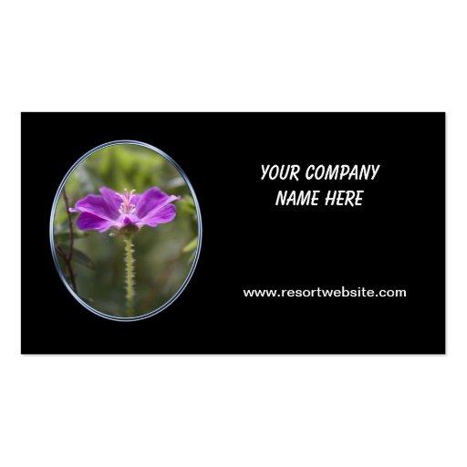 flor púrpura simple, tarjeta de visita negra