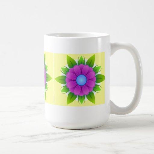 Flor púrpura taza de café de 15 onzas
