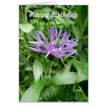 Flor púrpura Templat del botón del soltero del Cor Tarjeton