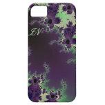 Flor púrpura verde con monograma del fractal para  iPhone 5 carcasa