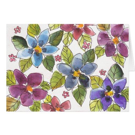 Flor púrpura y azul de la tarjeta - - acuarela