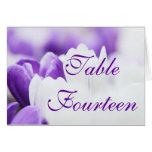 Flor púrpura y blanca - tarjetas del número de la