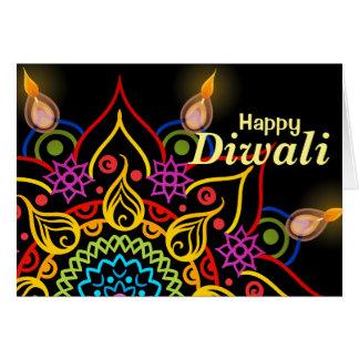 Flor Rangoli de Diwali con las lámparas de aceite Tarjeta De Felicitación