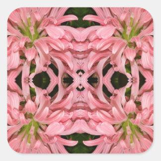 Flor reflexión enero de 2013 rosado calcomanía cuadradas