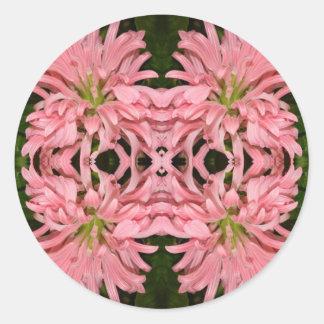 Flor reflexión enero de 2013 rosado etiqueta redonda