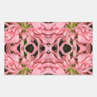 Flor reflexión enero de 2013 rosado rectangular pegatinas