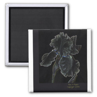 Flor resumida iris blanco imán de nevera