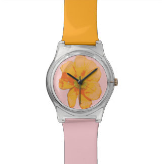Flor retra anaranjada de PopArt Relojes De Mano