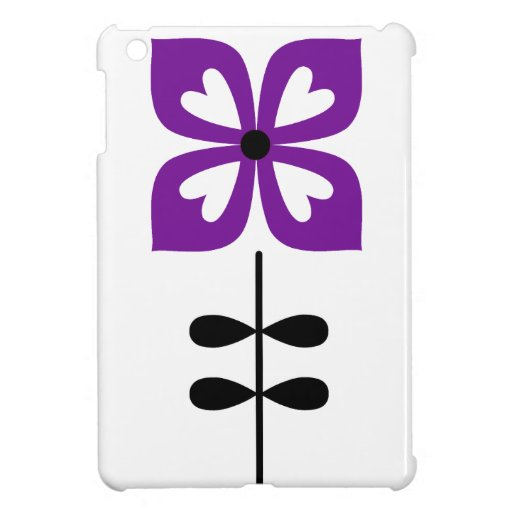 Flor retra con las hojas del corazón en púrpura iPad mini protectores
