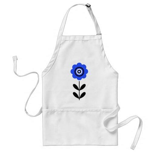 Flor retra de la diana azul de la blanco delantales