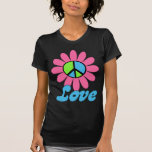 Flor retra de la paz del amor camisetas