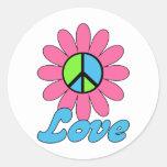 Flor retra de la paz del amor pegatina redonda