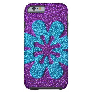 Flor retra de la púrpura y del brillo azul funda de iPhone 6 tough