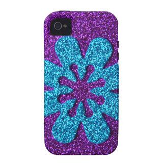 Flor retra de la púrpura y del brillo azul iPhone 4/4S carcasas