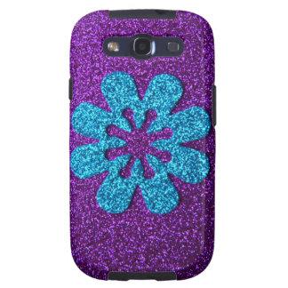 Flor retra de la púrpura y del brillo azul galaxy SIII carcasa