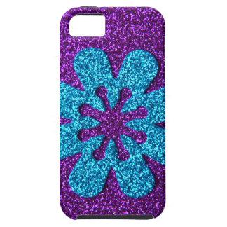Flor retra de la púrpura y del brillo azul iPhone 5 Case-Mate cárcasa