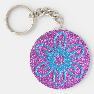 Flor retra del estilo - azul y púrpura llavero redondo tipo pin
