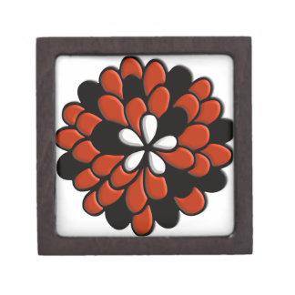 Flor retra del naranja del vitral caja de recuerdo de calidad