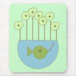 Flor retra/Fishbowl de la MOD Alfombrilla De Ratones