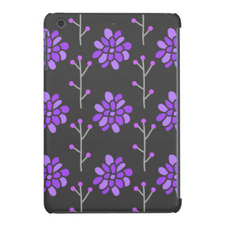 Flor retra púrpura gris oscuro y violeta, floral funda de iPad mini