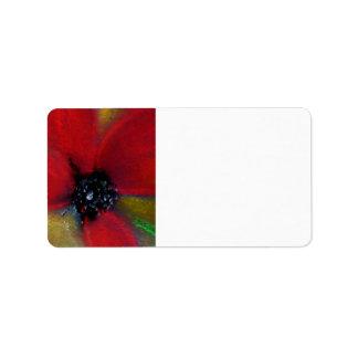 Flor roja, amapola etiquetas de dirección