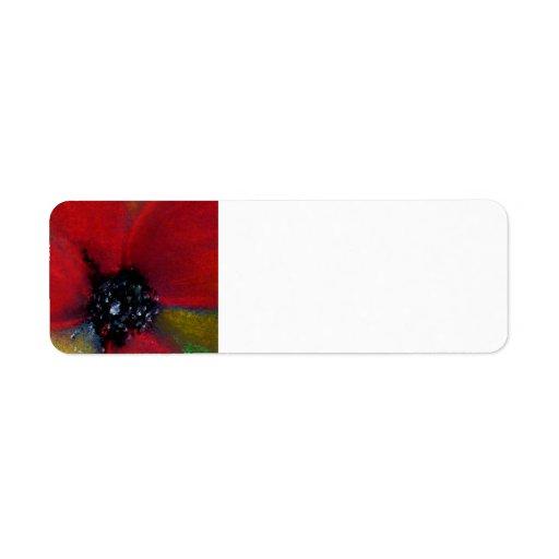 Flor roja, amapola etiqueta de remite